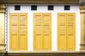 Yellow window doors Royalty Free Stock Photo