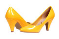 Yellow women's heel shoes Royalty Free Stock Photo