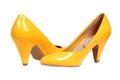 Yellow women's heel shoes Royalty Free Stock Photo