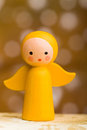Yellow wooden christmas angel Royalty Free Stock Photography