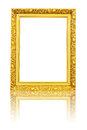 Yellow wooden photo frame isolated Royalty Free Stock Photo