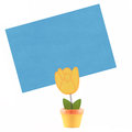 Yellow wooden tulip holder Royalty Free Stock Image