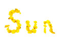 Yellow word sun Royalty Free Stock Photo