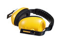 Yellow working protective headphones Stock Photos
