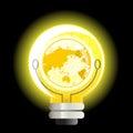 Yellow World Light Bulb Royalty Free Stock Photo