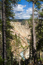 Yellowstone Canyon as seen from the Grand View lookout Royalty Free Stock Photo