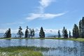 Yellowstone lake a summer day at gull point national park wyoming usa Stock Photo