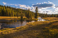 Yellowstone landscape small creek near the lone star geyser Stock Image
