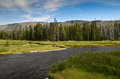Yellowstone national park water streem in wyoming Stock Photo