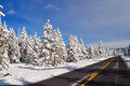 Yellowstone in winter snowy landscapes of park wyoming Stock Photos