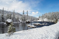 Yellowstone in winter snowy landscapes of park wyoming Stock Photo