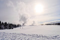 Yellowstone in winter snowy landscapes of park wyoming Stock Image
