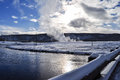 Yellowstone in winter snowy landscapes of park wyoming Royalty Free Stock Photography