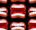 Yells lips seamless pattern. cry background. aggressive emotion