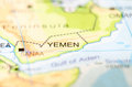 Yemen country on map Royalty Free Stock Photo