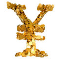 Yen currency. Symbol assembled with coins Stock Photo