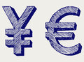 Yen and euro Stock Images
