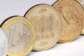 Yen, euro and dollar coins Royalty Free Stock Photo