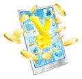 Yen money phone concept Royalty Free Stock Photo