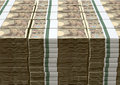 Yen notes pile a of stacked wads of japanese banknotes on an isolated background Stock Photo