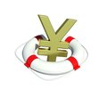 Yen sign in lifebuoy Royalty Free Stock Image