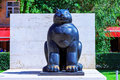 Yerevan, Armenia - 26 September, 2016: The Botero`s giant cat in Cafesjian sculpture garden in the city center in Yerevan. Royalty Free Stock Photo