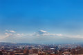 Yerevan, Armenia - 26 September, 2016: A view of Yerevan from Cascade complex in sunny day and view on Ararat Royalty Free Stock Photo
