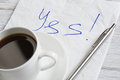 Yes answer on napkin Royalty Free Stock Photo