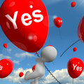 Yes balloons means certainty and affirmative meaning approval Stock Image