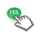Yes button with an hand pointer Royalty Free Stock Photo