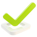 Yes done tick over check box isolated green glossy on white Royalty Free Stock Image