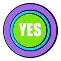 Yes green button icon cartoon Royalty Free Stock Photo