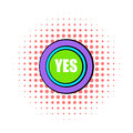 Yes green button icon, comics style Royalty Free Stock Photo