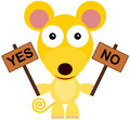 Yes no animal illustration of a mouse holding two boards with words and Stock Photos