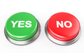 Yes no button isolated on white d render Royalty Free Stock Photo