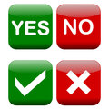 Yes and no buttons tick cross in red green colors isolated on white background Stock Photography