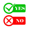Yes and No check marks. Vector illustration. Royalty Free Stock Photo