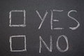 Yes or no choice the words and next to square check boxes drawn with chalk over a blackboard Stock Images