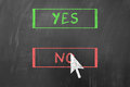 Yes or no concept using mouse pointing arrow on blackboard Royalty Free Stock Photography
