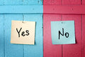 Yes or no decision conflict on papers Stock Images