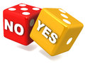Yes or no and on falling glossy dice white background concept of decision making Stock Images
