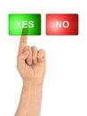 Yes no hand och knappar Fotografering för Bildbyråer
