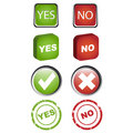 Yes and no icons set Stock Photos