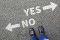 Yes no right wrong answer business concept indecisive solution d