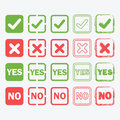 Yes and No square icons in silhouette and outline set Royalty Free Stock Photo