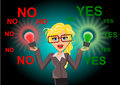 Yes or no woman holding to bulb concept illustration Stock Photos
