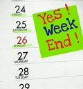 Yes weekend mark the with a note on the calendar Royalty Free Stock Images