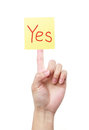 Yes a yellow sticky note with text on a finger isolated on white background Royalty Free Stock Photography