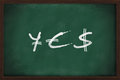 Yes yen euro and dollar signs written on chalkboard Royalty Free Stock Photos