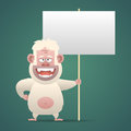 Yeti character holds empty banner sign illustration nameplate format eps Stock Photos